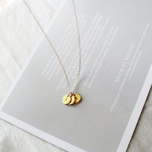 3 coin/Initial Necklace, Personalized Necklace